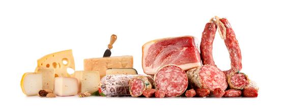 Portionen Wurst und Käse